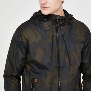 River Island Mens Superdry khaki camo hooded cagoule