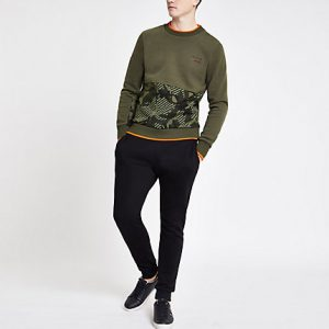 River Island Mens Superdry khaki logo sweatshirt