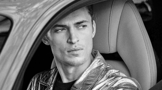 Getting behind the wheel of a car, Harvey Haydon stars in Rodrigo's spring-summer 2019 campaign.