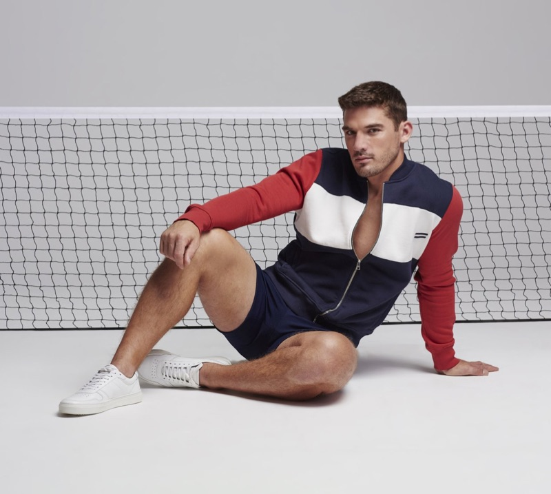 Going sporty, Kerry Degman sports a colorblocked look by Ron Dorff.