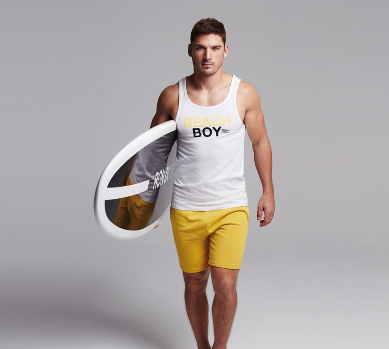 Ready to hit the beach, Kerry Degman sports a relaxed look from Ron Dorff.