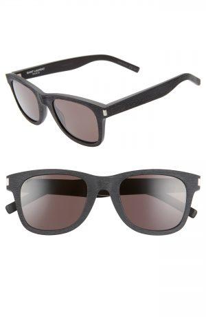 Saint Laurent 50Mm Square Sunglasses - Wood Effect Black/ Solid Grey