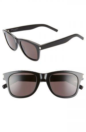 Saint Laurent 50Mm Studded Square Sunglasses - Shiny Black W/ Studs/ Grey