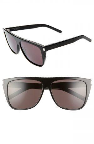 Saint Laurent 59Mm Studded Flat Top Sunglasses - Black/ W/ Silver Studs/ Grey