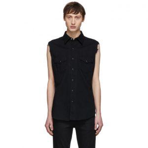 Saint Laurent Black Denim Destroyed Sleeveless Shirt
