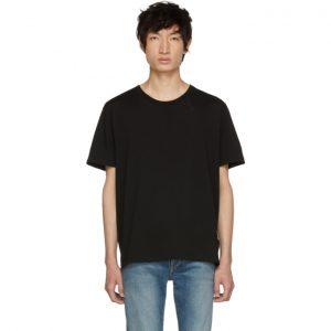Saint Laurent Black Embroidered Logo T-Shirt