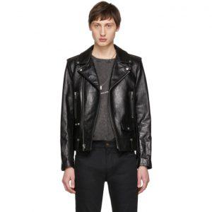 Saint Laurent Black Leather Stars Classic Moto Jacket