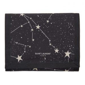Saint Laurent Black Orion Constellation Compact Wallet