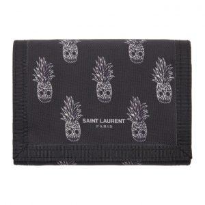 Saint Laurent Black Pineapple Print Wallet