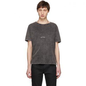Saint Laurent Black Washed Rive Gauche Logo T-Shirt