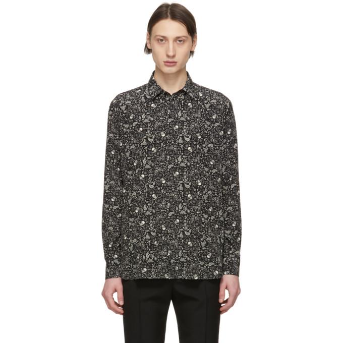 78f4ded59a6 Saint Laurent Black and Off-White Silk USA Skull Shirt | The Fashionisto