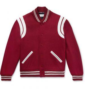 Saint Laurent - Leather-Trimmed Virgin Wool-Blend Bomber Jacket - Men - Claret