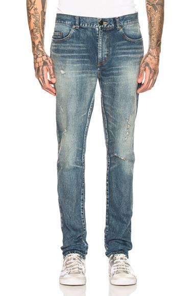 Saint Laurent Low Waist Skinny Jeans in Denim Medium. - size 29 (also in 28,30,31,32,33,34,36)