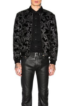Saint Laurent Printed Jacket in Black,Metallic,Paisley. - size 48 (also in 50,52)