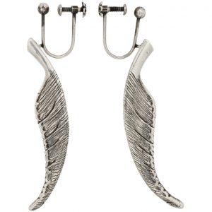Saint Laurent Silver Animalier Feather Earrings