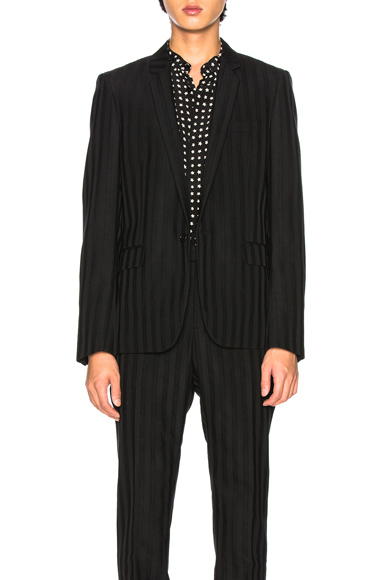 Saint Laurent Striped Long Blazer in Black,Stripes. - size 48 (also in 50)