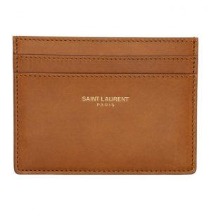 Saint Laurent Tan Logo Card Holder
