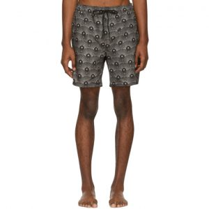 Saturdays NYC Black and Beige Deco Timothy Swim Shorts