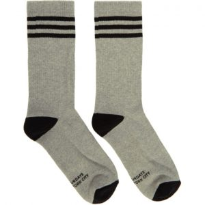 Saturdays NYC Grey and Black Athletic Socks