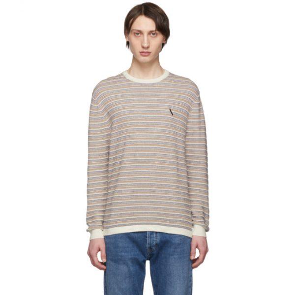 Saturdays NYC White Lee Stripe Sweater