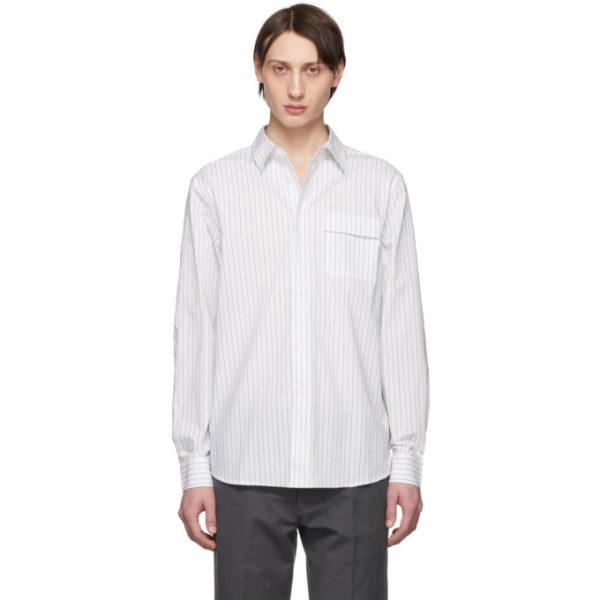Saturdays NYC White Miro Logo Stripe Shirt