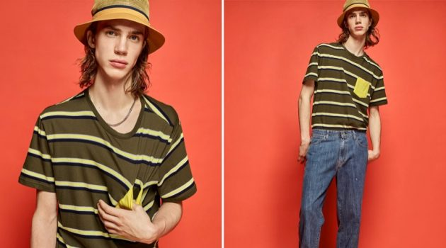Thomas Saulnier rocks a DJAB striped pocket t-shirt, straight-fit dad jeans, and Vans classic Old Skool sneakers.