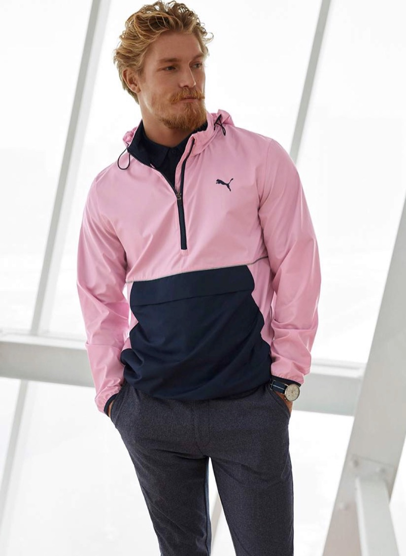 Showcasing smart athleisure style, Harry Goodwins dons a windbreaker from PUMA.