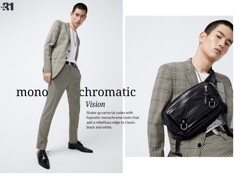 Kohei Takabatake dons a giant Prince of Wales suit jacket with gingham print pants by LE 31.