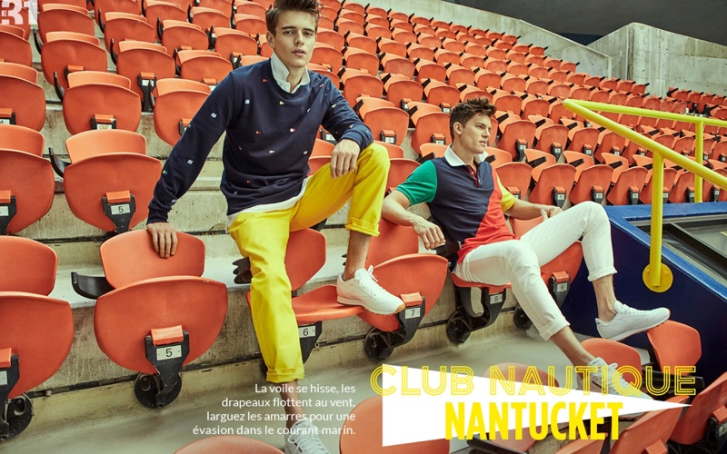 Left: Jordy Baan wears a LE 31 nautical flag embroidered sweatshirt, chinos, and an oxford shirt with Reebok sneakers. Right: Simon Malenfant sports a LE 31 colorblock polo with slim-fit pants and Reebok sneakers.