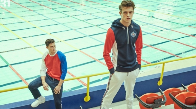 Left: Simon Malenfant models a LE 31 tricolor raglan t-shirt and athletic joggers with Reebok Classic sneakers. Right: Jordy Baan rocks a LE 31 hooded compass sweatshirt with athletic joggers.