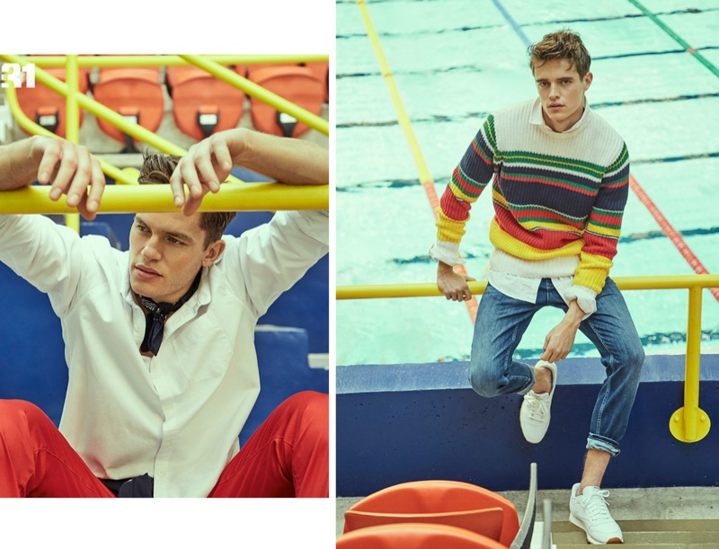 Left: Simon Malenfant wears an oxford shirt, red pants, and a paisley bandana from LE 31. Right: Jordan Baan dons a LE 31 striped sweater, oxford shirt, and jeans with Reebok Classic sneakers.