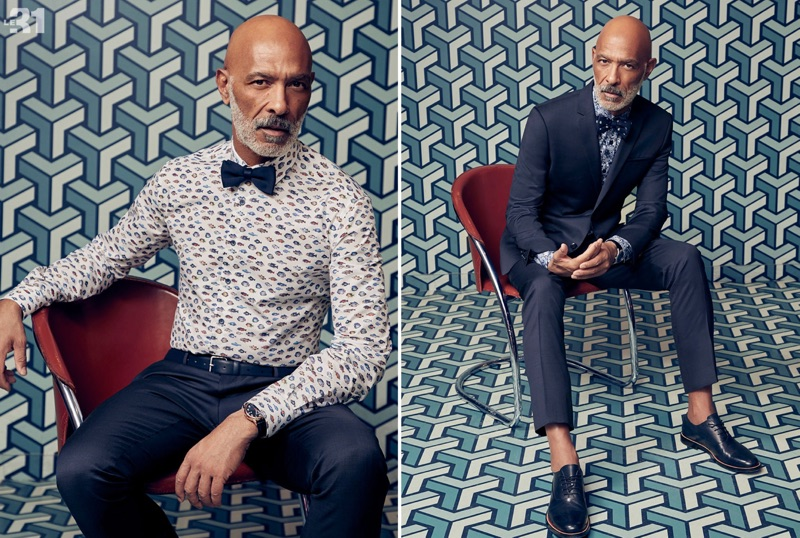 Left: Lono Brazil sports an exotic fish print shirt by LE 31 with the brand's trousers, knit bow-tie, and Saffiano leather belt. Right: Lono dons a LE 31 suit and floral print shirt with Steve Madden derby shoes.
