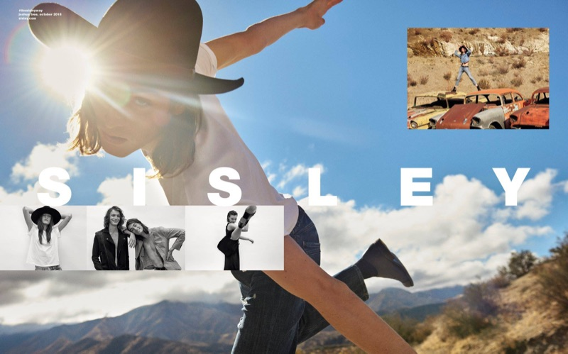 Sporting a cowboy hat, Niko Traubman stars in Sisley's spring-summer 2019 campaign.
