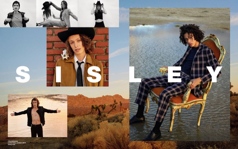 Models Lucas Satherley and Max Fieschi appear in Sisley's spring-summer 2019 campaign.