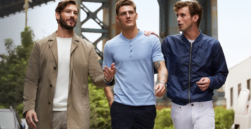 Models Parker Gregory, Mikkel Jensen, and RJ King front Strellson's spring-summer 2019 campaign.