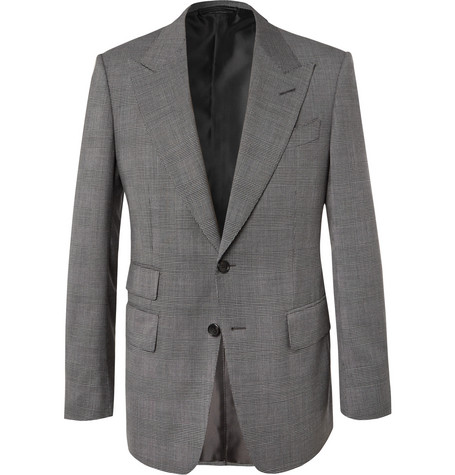 TOM FORD - Black Shelton Slim-Fit Prince of Wales Checked Stretch-Wool Suit Jacket - Men - Gray