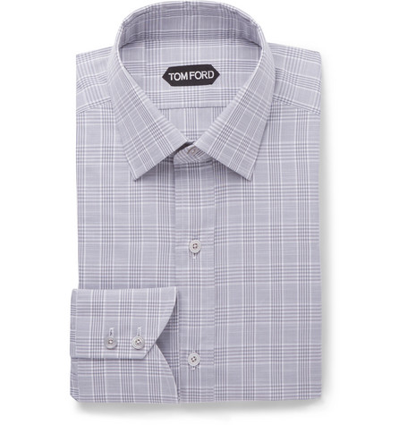 TOM FORD - Grey Slim-Fit Prince of Wales Checked Cotton-Poplin Shirt - Men - Gray