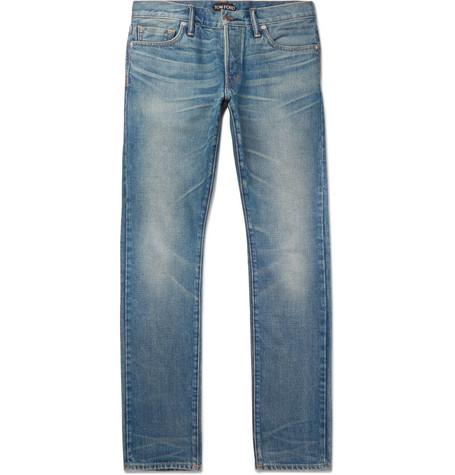 TOM FORD - Slim-Fit Washed Selvedge Denim Jeans - Men - Blue