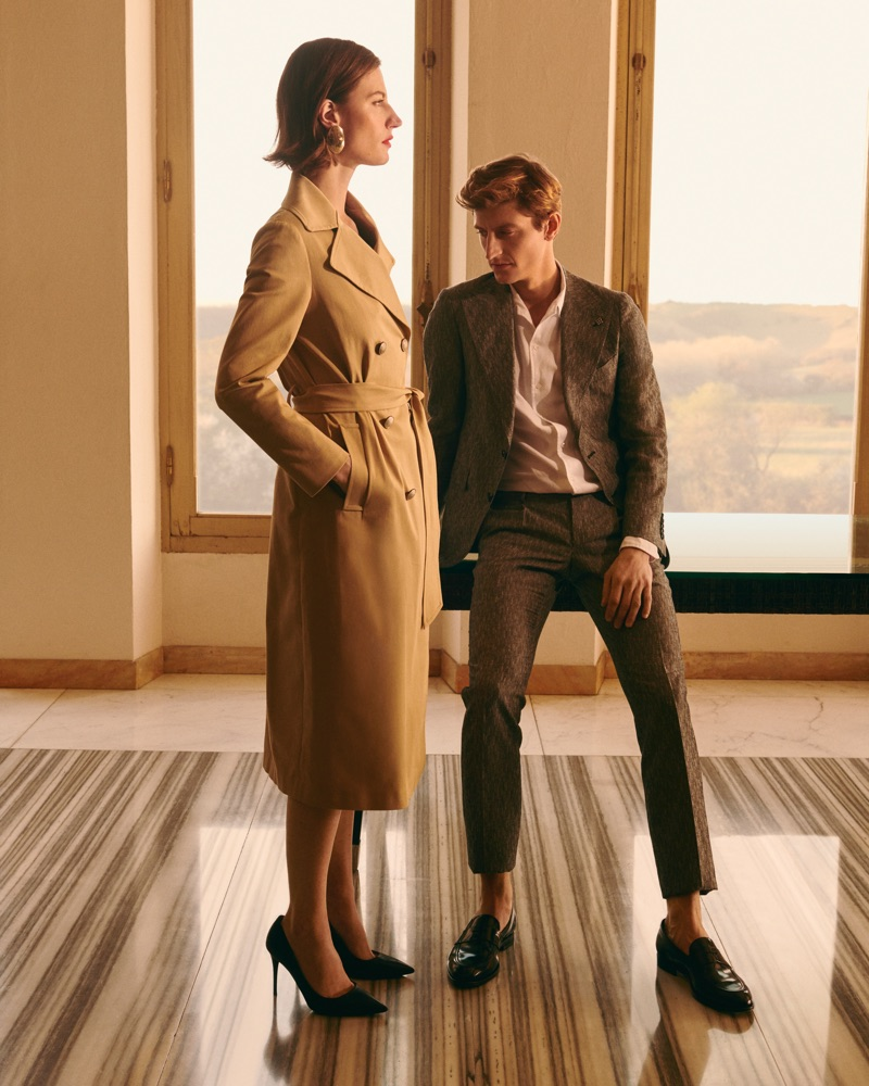 Models Gwenola Guichard and Chris Beek star in Tagliatore's spring-summer 2019 campaign.