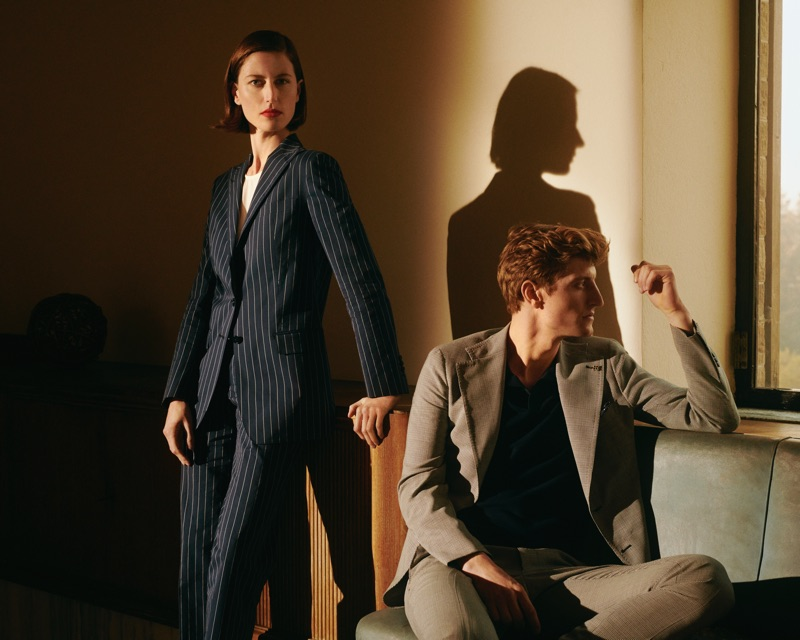 Gwenola Guichard and Chris Beek front Tagliatore's spring-summer 2019 campaign.