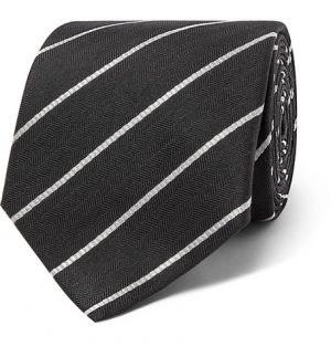 The Row - 7.5cm Alain Striped Herringbone Silk Tie - Men - Black