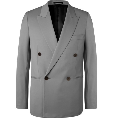 The Row - Grey Julian Slim-Fit Double-Breasted Virgin Wool Blazer - Men - Gray