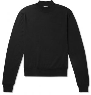 The Row - Sean Slim-Fit Silk and Cotton-Blend Rollneck Sweater - Men - Black