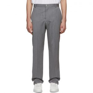 Thom Browne Grey Chino Stripe Unconstructed Trousers