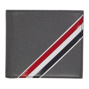 Thom Browne Grey Striped Bifold Wallet