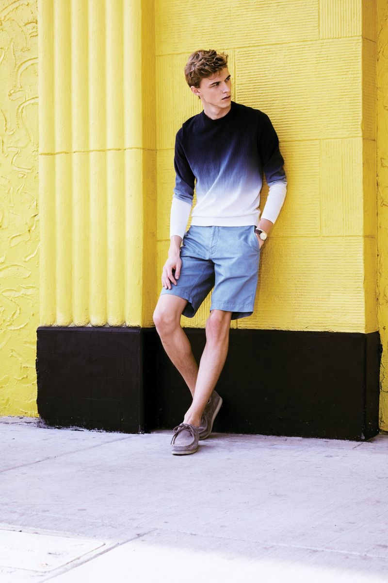 A smart vision, Max Barczak wears a Todd Snyder dip dye sweater and shorts.