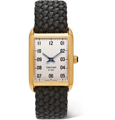 Tom Ford Timepieces - 001 18-Karat Gold and Woven Leather Watch - Men - White