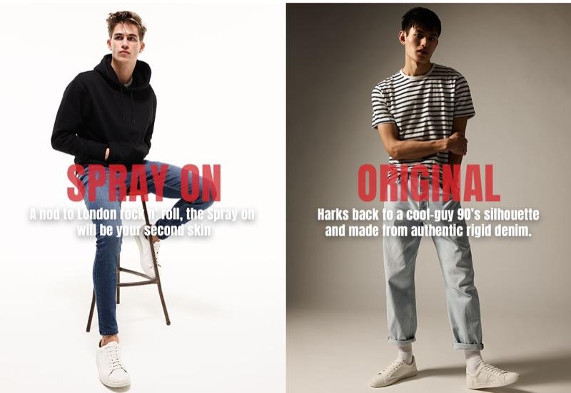 Douglas Giles and Qiang Li rock denim jeans from Topman.