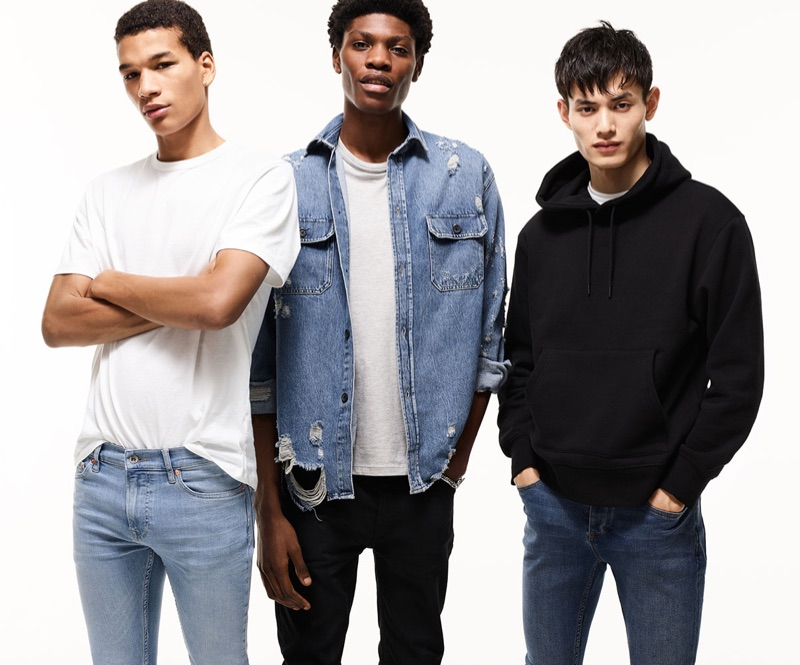 Models Hamady Hirailles, Tommy Blue, and Qiang Li come together for Topman's spring 2019 denim campaign.