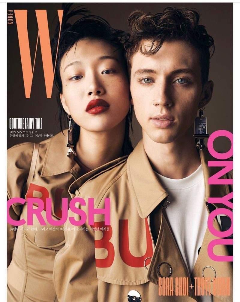 Model Sora Choi and singer Troye Sivan cover the March 2019 issue of W Korea.